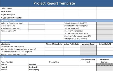 pmo reporting templates project management status report template management