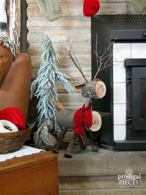 Thrifty Blogs On Home Decor by Repurposed Log Reindeer Christmas Ideas Tour Prodigal