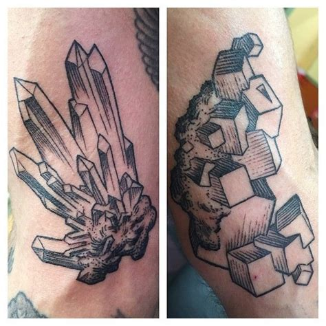 geology tattoos mineral formations inside both biceps tattoos