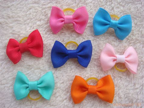 puppy hair bows 10 x cat puppy hair bow handmade grooming bows rubber band pets gift a17 ebay