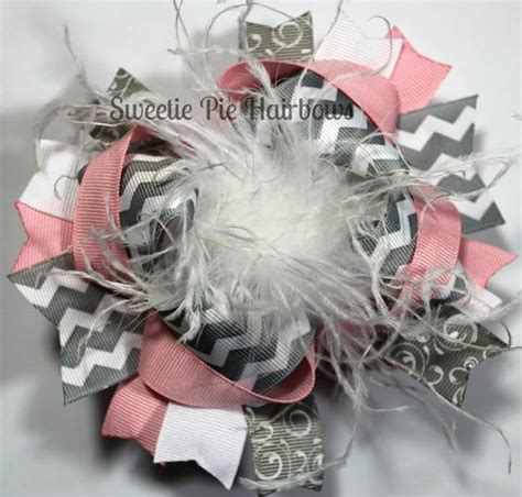 the top peacock hair bow curly ostrich feather center pink and gray the top hair bow chevron deluxe