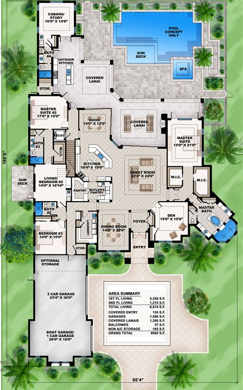 first floor in spanish plan 86021bw mediterranean dream home plan with 2 master