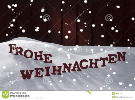 frohe weihnachten means merry christmas snowflakes stock