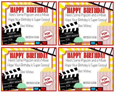 Printable Movie Gift Cards - 48 sle gift cards free premium templates