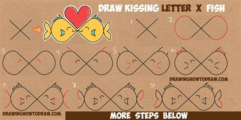 doodle draw step by step how to draw fish from the letter x in