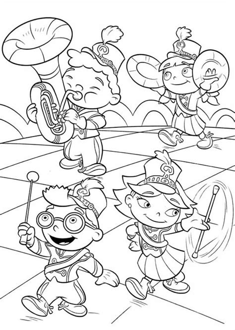 Little Einstein Marching Band Coloring Page Coloring Sky Marching Band Coloring Pages