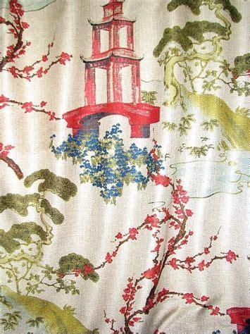 zen linen chinoiserie fabric upholstery printing  fabric