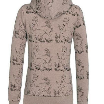 Deer Print Hoodie deer print drawstring womens hoodie sweatshirt on luulla