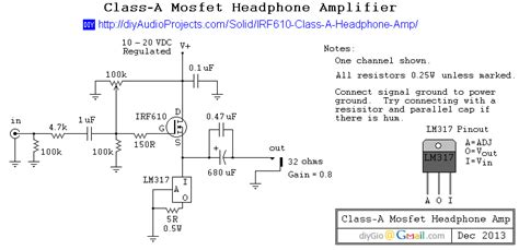 transistor headphone lifier schematic gt circuits gt diy irf610 mosfet class a headphone lifier project l24643 next gr