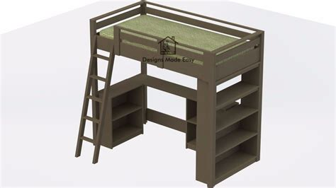 Loft Bed With Desk Plans by Loft Bed With Desk And Bookcase Easy Woodworking