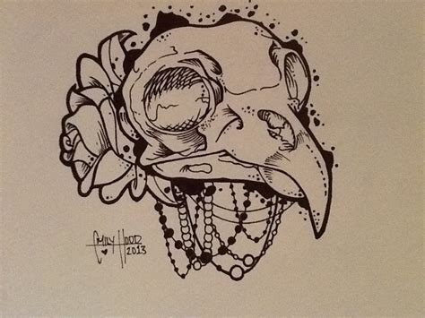 bird skull tattoo bird skull drawing