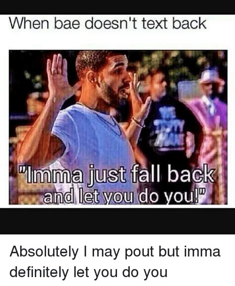 Text Back Meme - when bae doesn t text back mma just fall back and let you