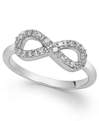 jewelry infinity ring infinity ring in sterling silver 1 10 ct t w