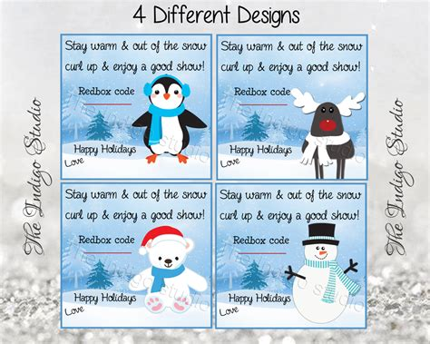 Printable Redbox Gift Cards - printable redbox christmas gift tags 4 different design cards