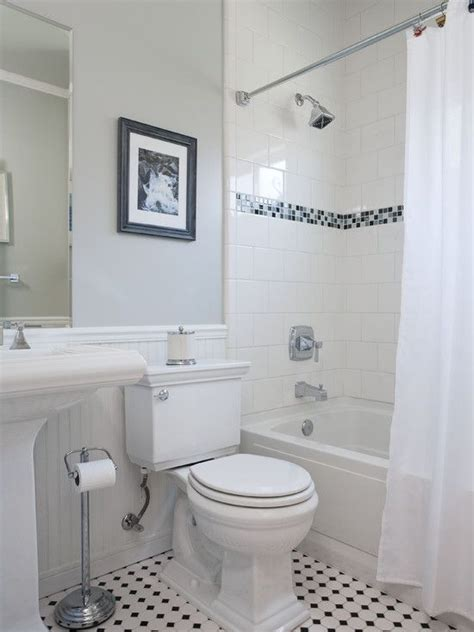 Classic Bathroom Tile Ideas | tile accents bathroom small traditional cape cod style