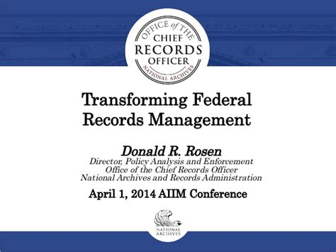 Federal Docket Search Transforming Federal Records Management Aiim 2014 Conference Session