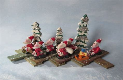 vintage expanding fold out wooden santa claus christmas