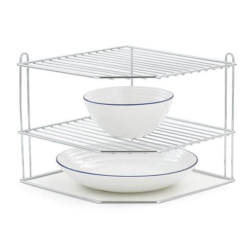 Corner Dish Rack by Lakeland Corner 2 Tier Plate Rack Stand Chromed Steel Ebay