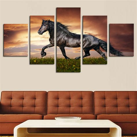 q where to purchase horse wall art home decor wall decor framed 5 pcs high quality cheap art pictures running horse