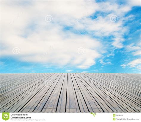 wood floor with cloud and sky stock photo image 36252890