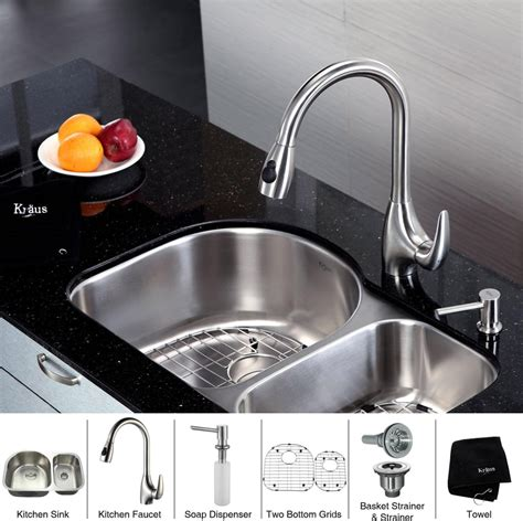 undermount double bowl kitchen sink for 30 inch cabinet kraus kbu21kpf2170sd20 30 inch undermount 60 40 double