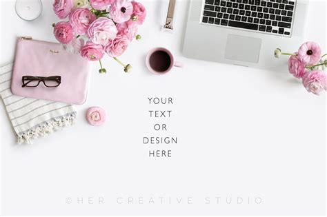Minimal Work Desk Floral Flatlay Pink Accessories Product Mockups