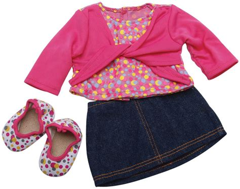 clothes and shoes denim skirt pink shirt and polka dot shoes for