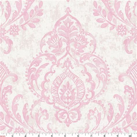 Pink Painted Damask Fabric By The Yard Pink Fabric