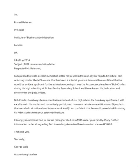 sample letter recommendation ms word