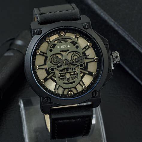 Jam Tangan Fossil Hitam fossil tengkorak tali kulit hitam black jam tangan pria wanita rumahdetik
