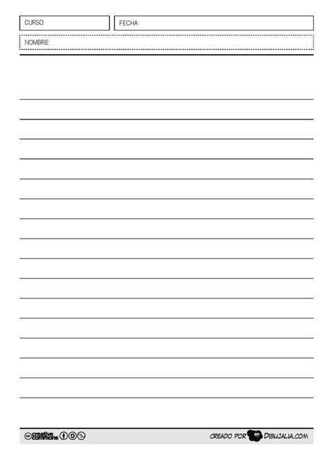 hoja de caligrafia en blanco para imprimir plantilla pauta simple 2 dibujalia dibujos para