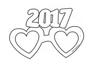 party glasses new year 2017 template coloring page