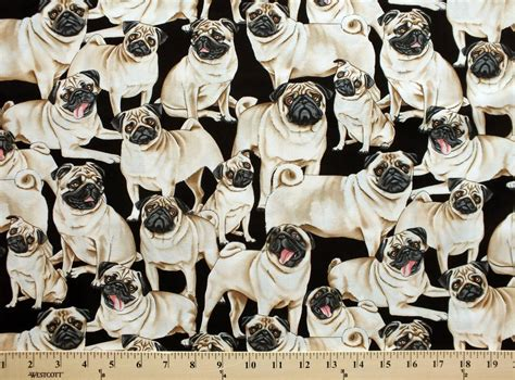 pug print material pug fawn pugs dogs on black cotton fabric print by the yard d770 38 ebay
