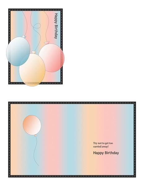 Powerpoint Quarter Fold Card Template by Happy Birthday Card With Balloons And Stripes Quarter