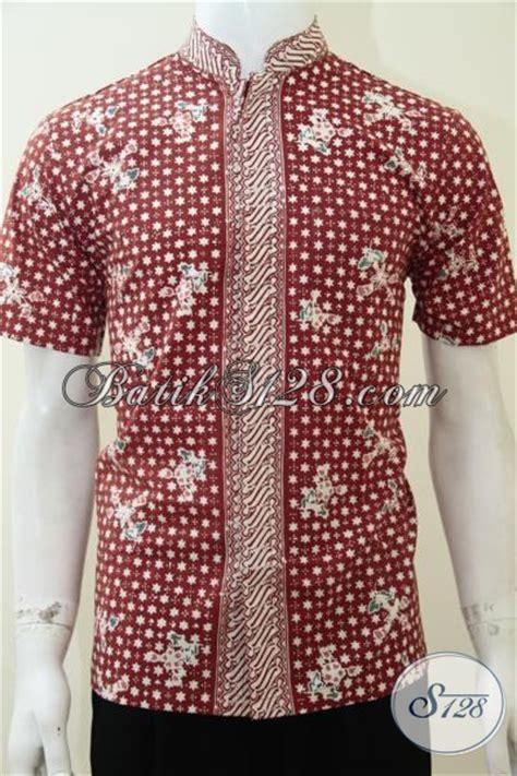 Kemeja Batik Blok Warna Biru Muda baju kemeja batik kerah shanghai koko warna merah keren untuk anak muda remaja stylish ld2234ck