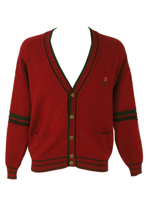 Sweater Classic Maroon Lo Sweater Babyterry Maroon burgundy varsity style cardigan with green navy trim l xl vintage