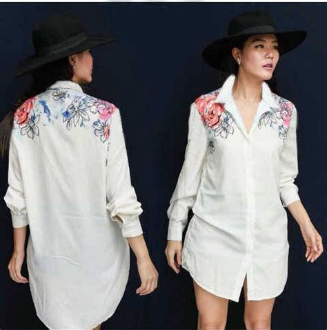 Baju Hem Wanita Kemeja Wanita J7195 baju hem wanita warna putih model terbaru cantik