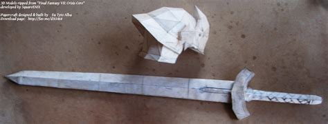 Sword Papercraft - ff7 soldier helm and sword papercraft by eutytoalba on