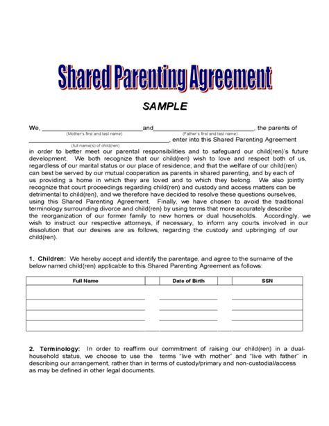 sle legal child custody agreement template download 7