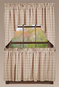 Country Plaid Curtains Tacoma Swag Primitive Rustic Creme Check Country Plaid Window Curtains Ebay