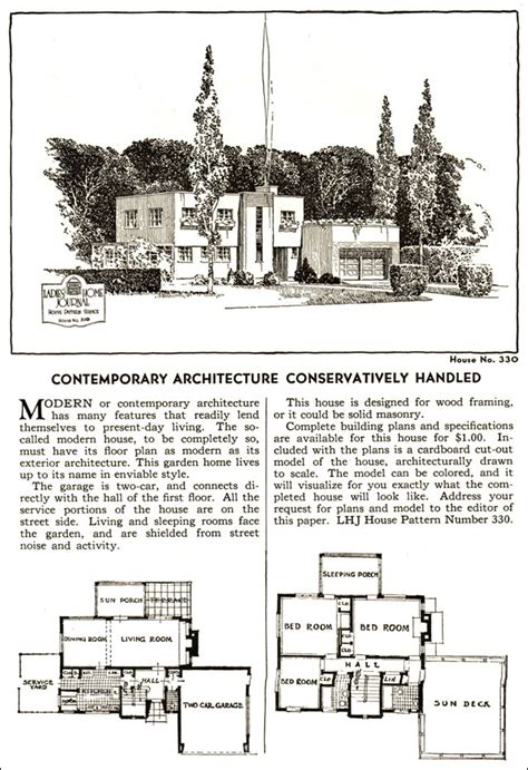 vintage house plans  modern style ladies home journal