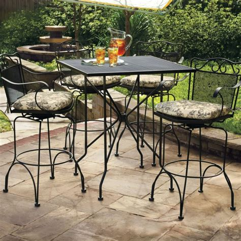metal bar chairs concrete cheerful iron patio table set with anchor hocking