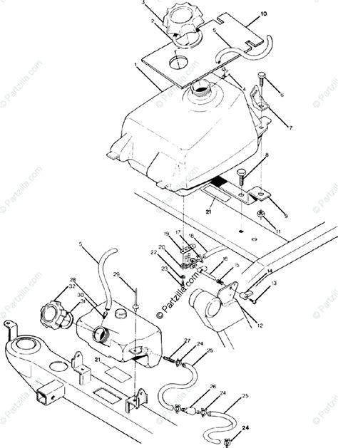 Polaris ATV 1992 OEM Parts Diagram for Fuel Tank Assembly