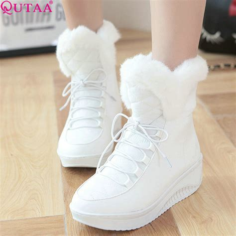 Sneaker Wedges White Snow Brokat Terbaru qutaa 2017 white ankle boots fur pu leather lace up wedge low heel boots snow boots