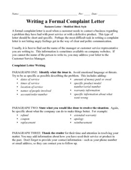 Block Style Business Letter Rubric business letter modified block complaint with 100 point