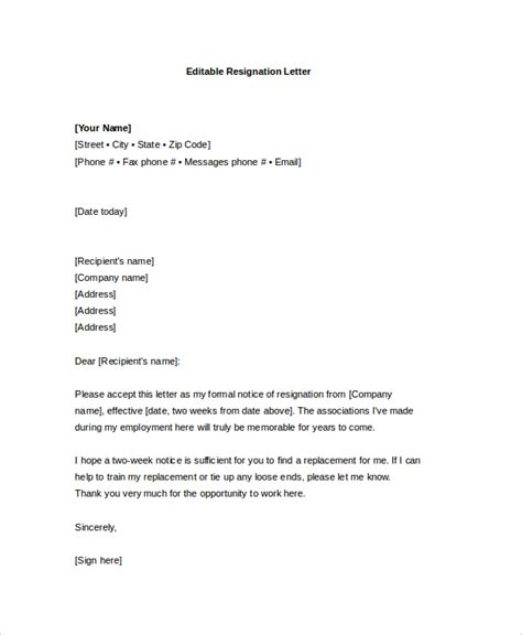 formal letter of resignation template resignation letter 20 free word pdf documents