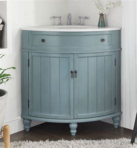 Adelina 24 Inch Corner Antique Bathroom Vanity Light Blue Corner Bathroom Vanity Cabinet