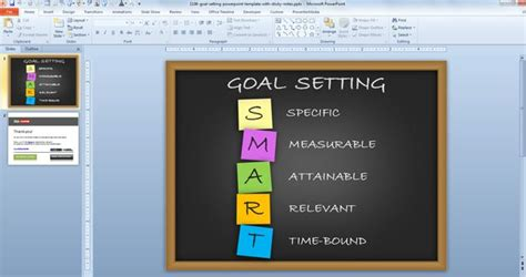 Free Goal Setting Powerpoint Template With Sticky Notes Free Powerpoint Templates Set Powerpoint Template
