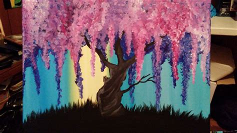 acrylic painting ideas trees wisteria willow tree 11x14 stretched canvas acrylic
