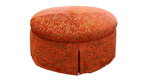 round tufted ottoman with skirt plush home park ave round ottoman w self welt